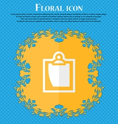 sheet of paper Floral flat design on a blue vector image