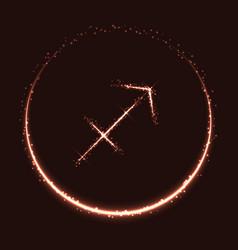 shiny astrological symbol of sagittarius vector image