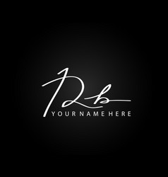 signature logo r and b rb initial letter elegant vector image