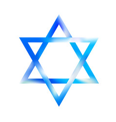 sky color sacred star of david symbol shield of vector image