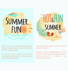 summer hot and fun vacation set posters with sun vector image