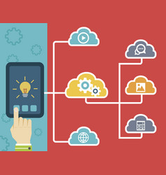 Tablet and cloud technology vector
