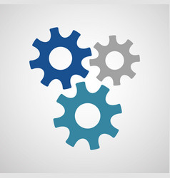 three connected gears in different colors vector image