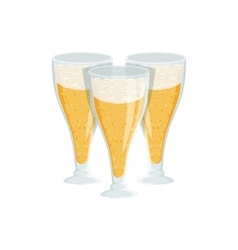 Three tall glasses of foamy lager beer vector