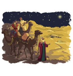 three wise men following star bethlehem vector image