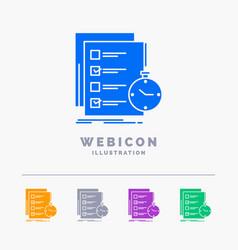 Todo task list check time 5 color glyph web icon vector