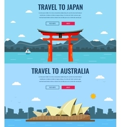 Travel composition with Japan and Australia vector