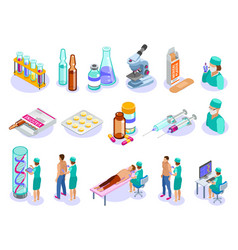 Vaccination isometric icons collection vector