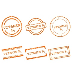 Vitamin B1 stamps vector image