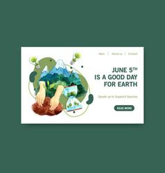 Website template design for world environment vector