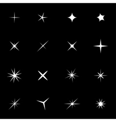 White sparkles icon set vector