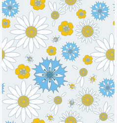 wildflowers cornflowers and chamomile with ladybug vector image