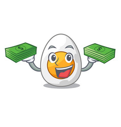 With money peeled boiled egg on mascot cartoon vector