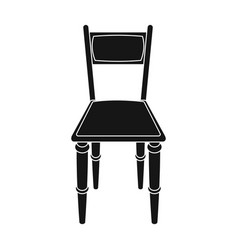 Wooden chair icon in black style isolated on white vector