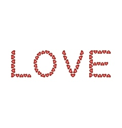Word Love made from hearts vector