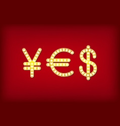 yes in form money symbol 3d vintage vector image vector image