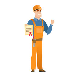 young caucasian builder holding a certificate vector image