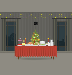 christmas food on the table decorating with vector image vector image