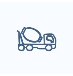 Concrete mixer truck sketch icon vector image