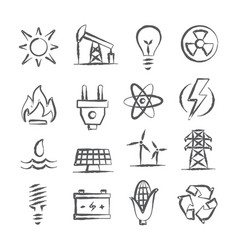 energy doodle icons vector image