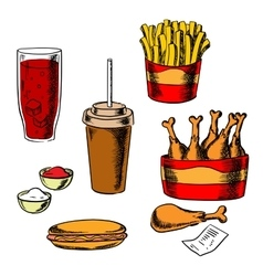 Fast food snacks and drinks set vector image
