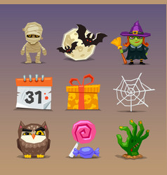 funny halloween icons-set 2 vector image