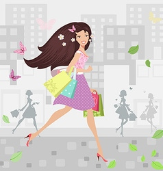 Happy girl walking around town with shopping bags vector image vector image