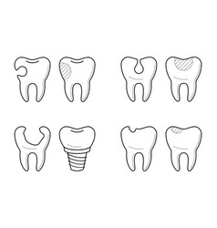 Icons of tooth treatment reconstruction vector