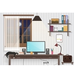 Modern teenager guy room with workplace male man vector