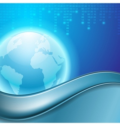 Stream of binary code with the globe vector image vector image