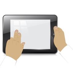 Tablet computer in businessman hands vector image