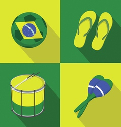 Brazil Soccer football icons flat style vector image