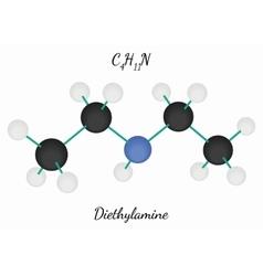 Diethylamine C4H11N molecule vector image