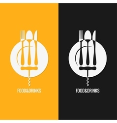 Food And Drink Plate Fork Knife Spoon vector image vector image