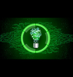 light bulb on green abstract technology background vector image vector image