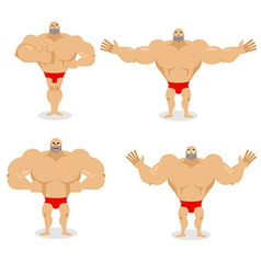 Muscled set poses expression of emotions athlete vector