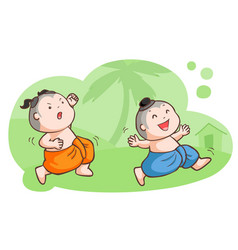 thai kids tease each other in the garden vector image