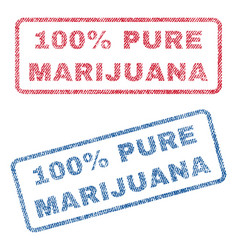 100 percent pure marijuana textile stamps vector