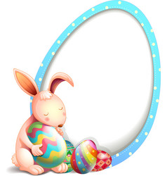 A rabbit with easter eggs beside an egg-shaped vector image vector image