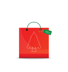 christmas shopping bag isolated on white vector image vector image