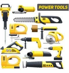 Power tools yellow black pictograms collection vector
