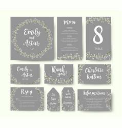 wedding floral invite thank you menu card design vector image