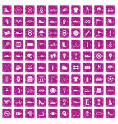 100 sneakers icons set grunge pink vector