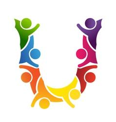 Alphabet Teamwork Letter U vector image