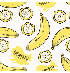 Banana with slices seamless pattern vector image