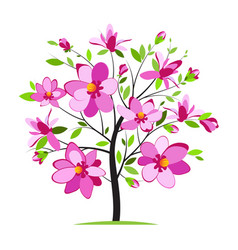 Blooming colorful tree vector
