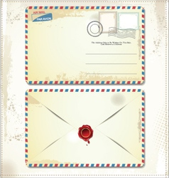 Old postage envelope with stamps and wax seal vector image vector image