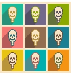 Set flat icons with long shadow human skull vector