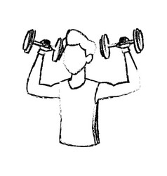 sketch man weight lifting exercise vector image