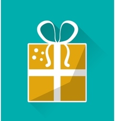 yellow gift box with bow birthday present vector image